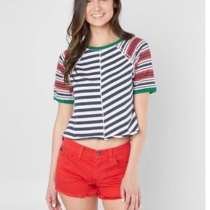 Free People Striped Prepster Cropped Top S